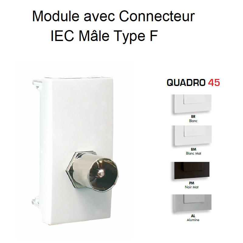 Module avec Connecteur IEC Mâle Type F - 1 Module QUADRO 45