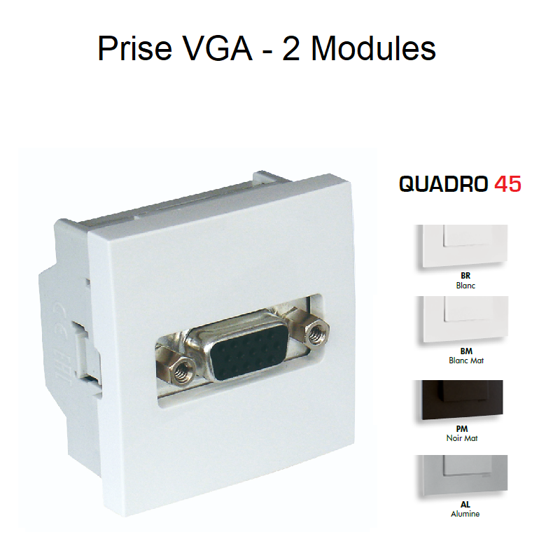Prise VGA - 2 Modules Quadro 45