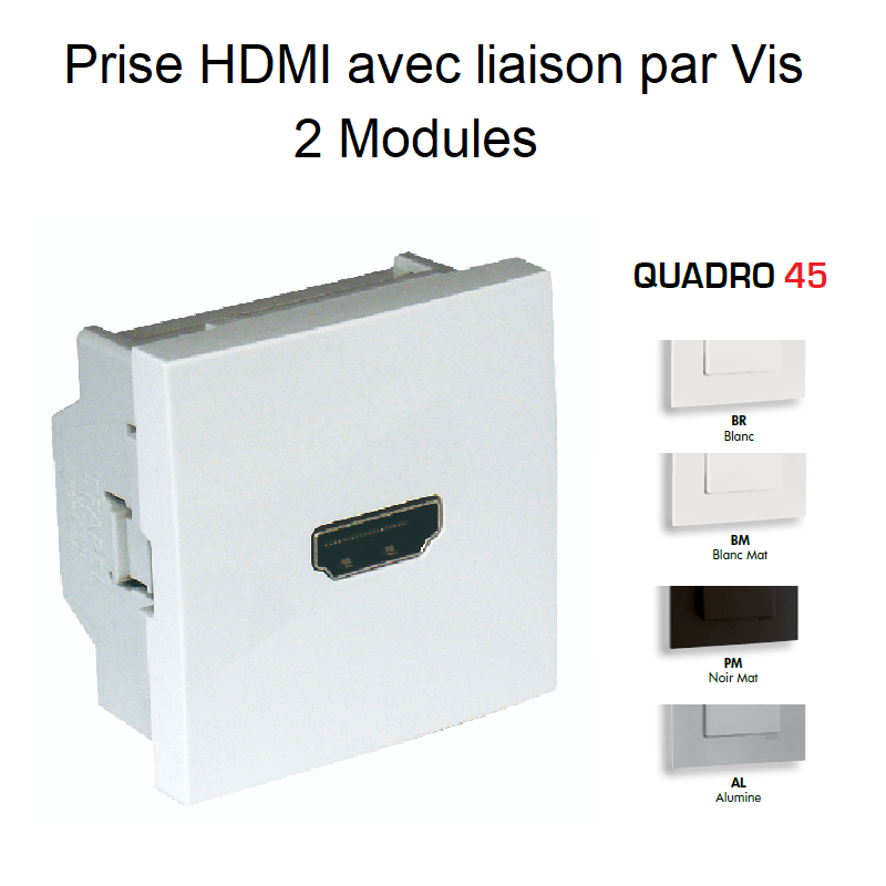 Prise HDMI avec liaison par Vis - Semi-Assemblée - 2 Modules Quadro45