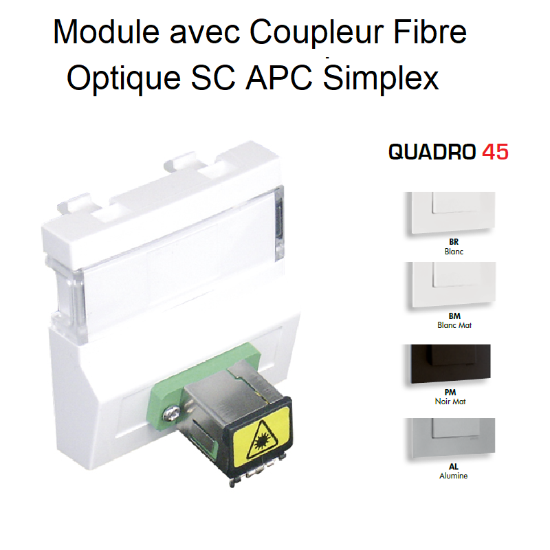 Module Coupleur Fibre Optique SC APC Simplex Quadro 45 - 2 Modules