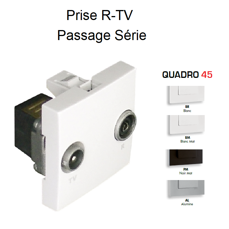 Prise R-TV Passage Série - 2 Modules QUADRO 45