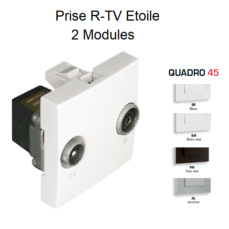 Prise R-TV Etoile - 2 Modules QUADRO 45