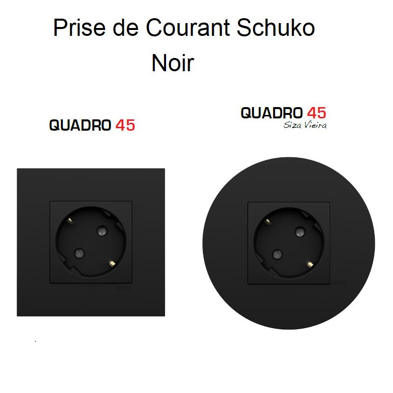 Prise de Courant Schuko Quadro 45 - NOIR MAT