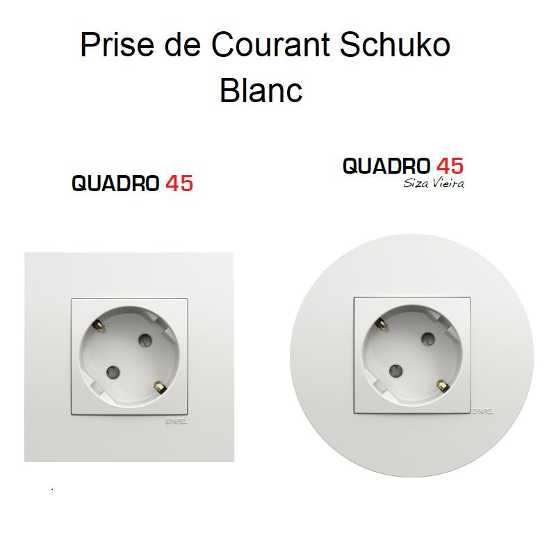 Prise de Courant Schuko Quadro 45 - BLANC