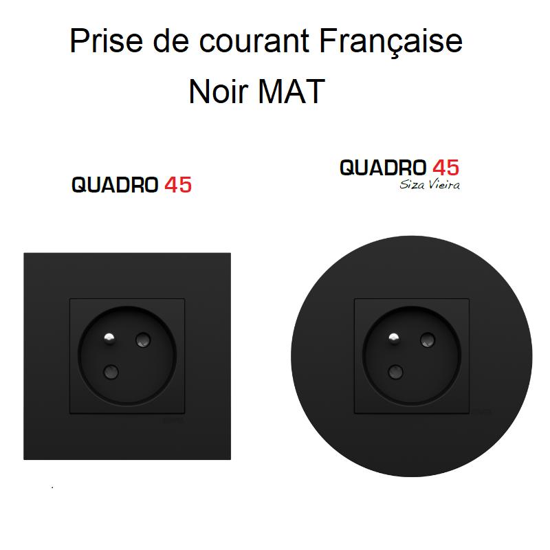 Prise de courant Française (2P+T) Quadro 45 - NOIR MAT