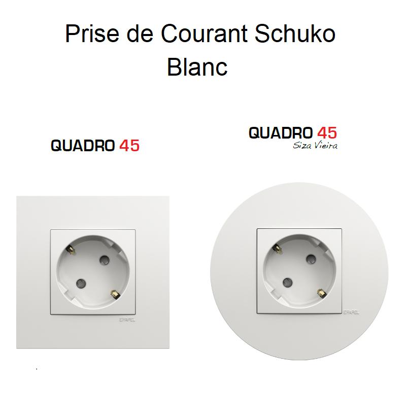 Prise de courant Française (2P+T) Quadro 45 - BLANC
