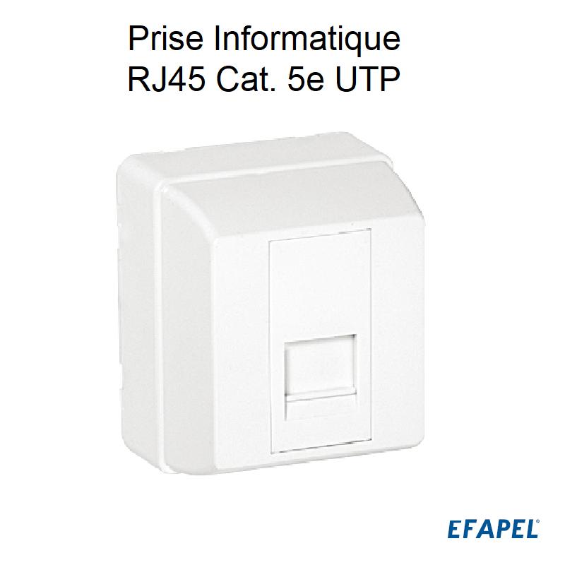 Prise Informatique RJ45 Cat. 5e UTP - 1 Sortie Blanc