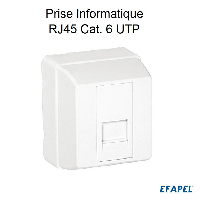 Prise Informatique RJ45 Cat. 6 UTP - 1 Sortie Blanc