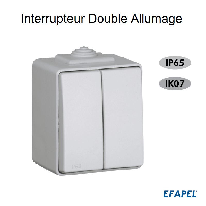 Interrupteur Double Allumage IP65 Gris ou Blanc