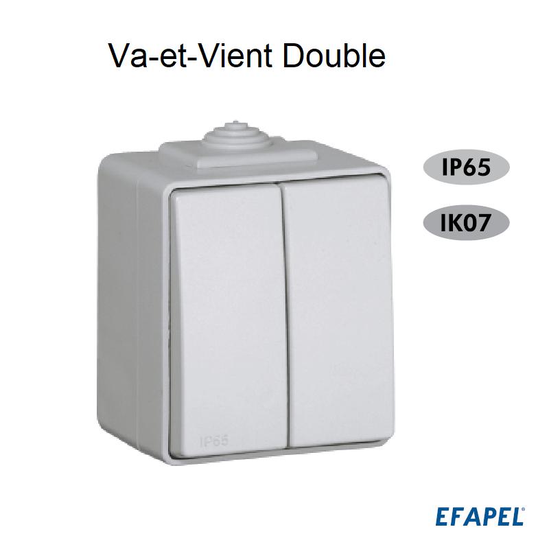 Interrupteur Va-et-Vient Double IP65 Gris ou Blanc