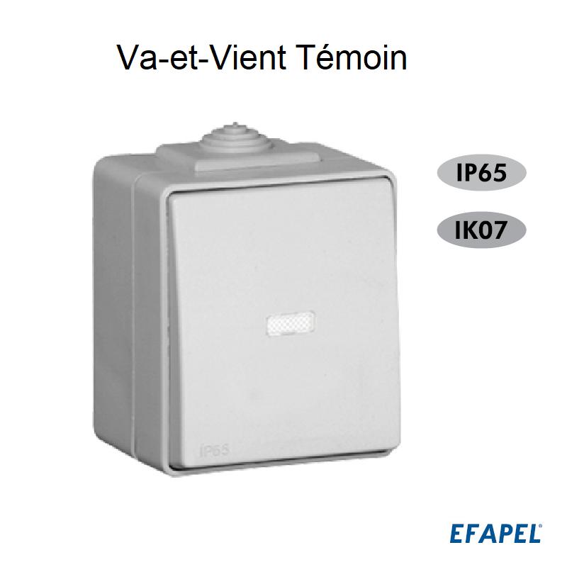 Interrupteur Va-et-Vient Témoin IP65 Gris ou Blanc