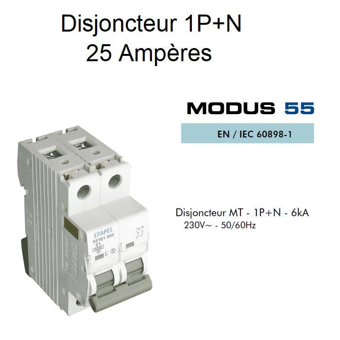 Disjoncteur Magnétothermique 1P+N - 6kA - 25A