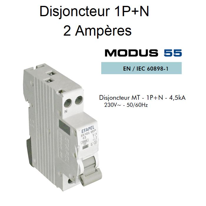 Disjoncteur Magnétothermique PLUS - 1P+N - 4,5kA - 2A