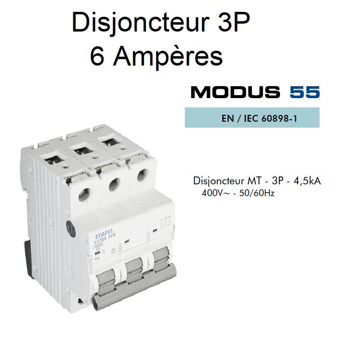 Disjoncteur Magnétothermique PLUS 3P - 4,5kA - 6A