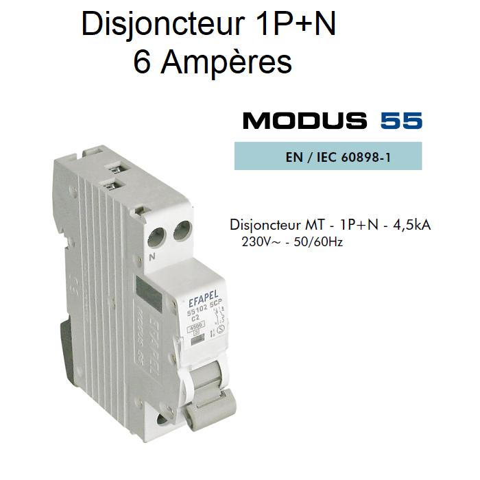Disjoncteur Magnétothermique PLUS - 1P+N - 4,5kA - 6A