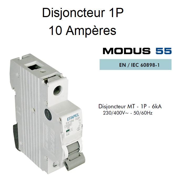 Disjoncteur Magnétothermique 1P - 6kA - 10A