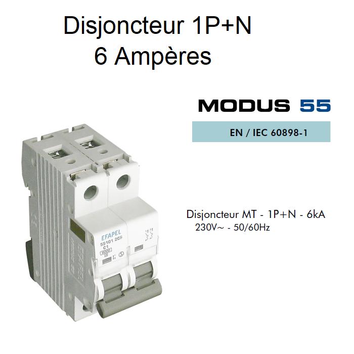 Disjoncteur Magnétothermique 1P+N - 6kA - 6A