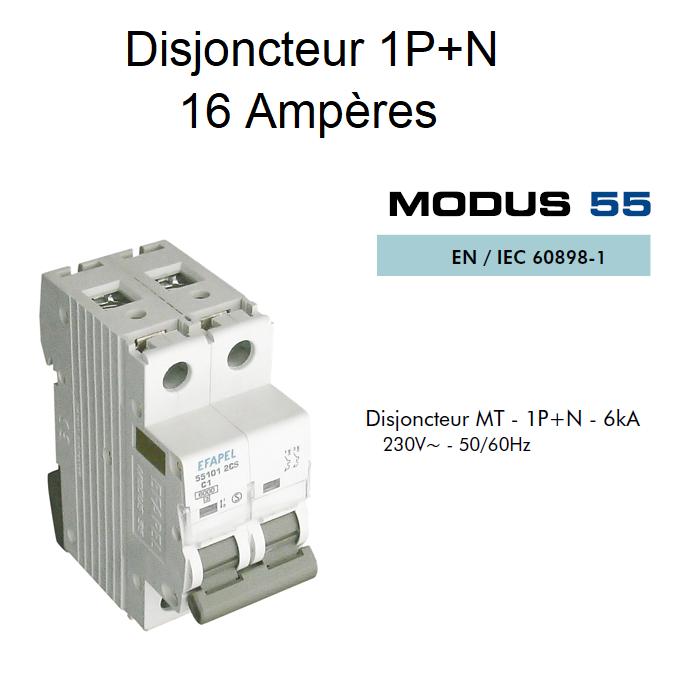 Disjoncteur Magnétothermique 1P+N - 6kA - 16A