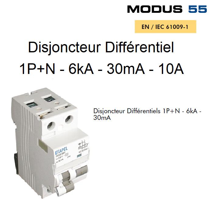 Disjoncteur Différentiel 1P+N - 6kA - 30mA - 10A