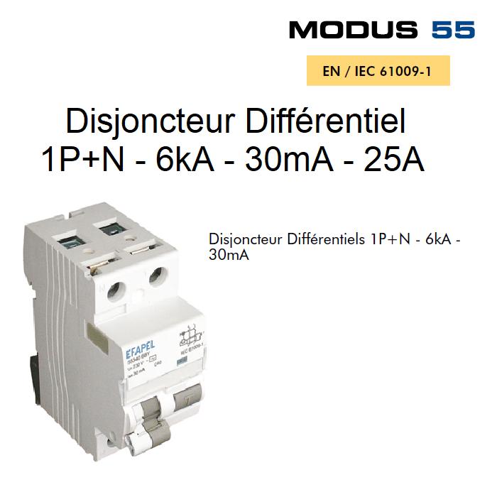 Disjoncteur Différentiel 1P+N - 6kA - 30mA - 25A