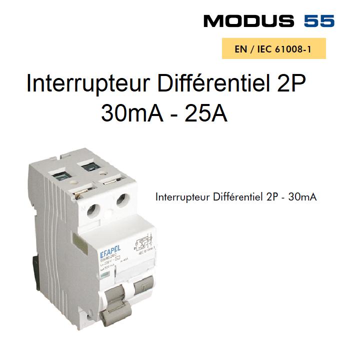Interrupteur Différentiel 2P - 30mA - AC - 25A