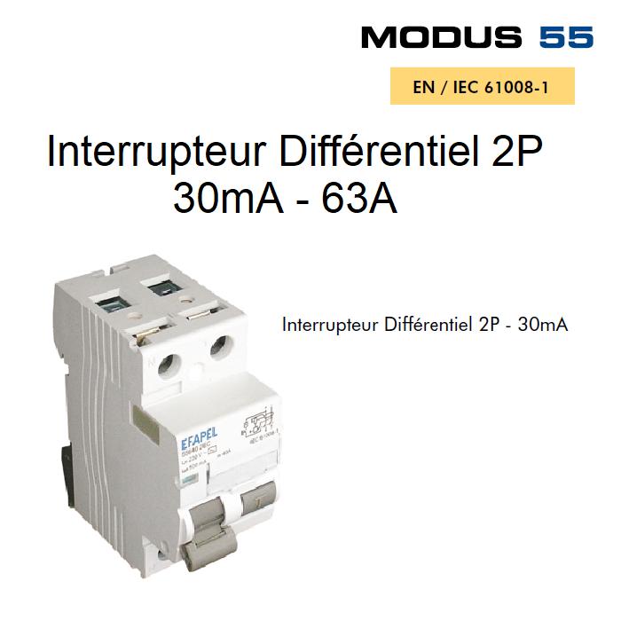 Interrupteur Différentiel 2P - 30mA - AC - 63A