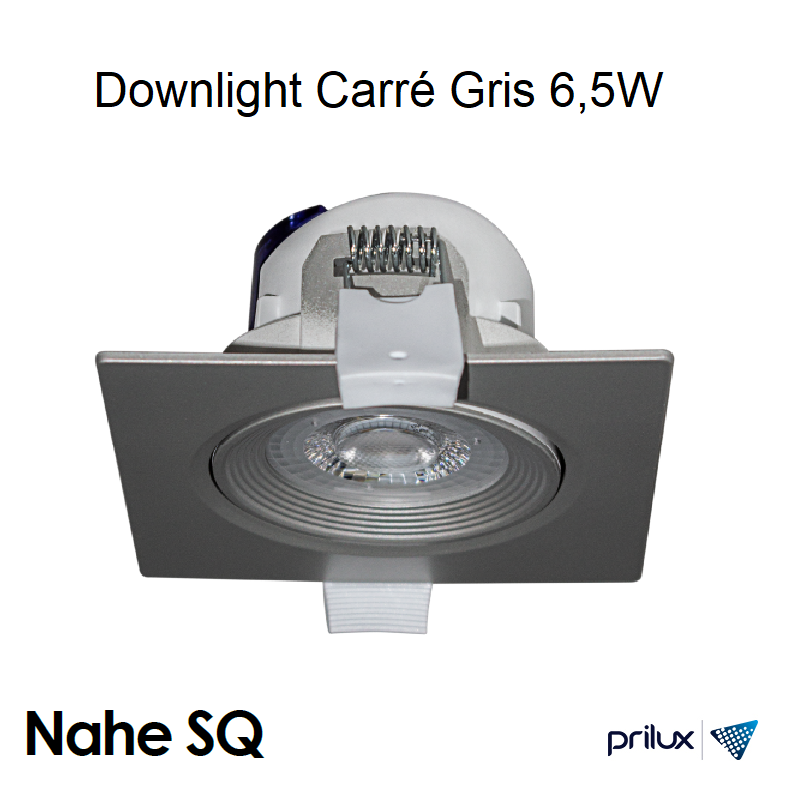 Spot LED Carré Gris encastrable NAHE SQ - 6,5W - 3000 kelvin