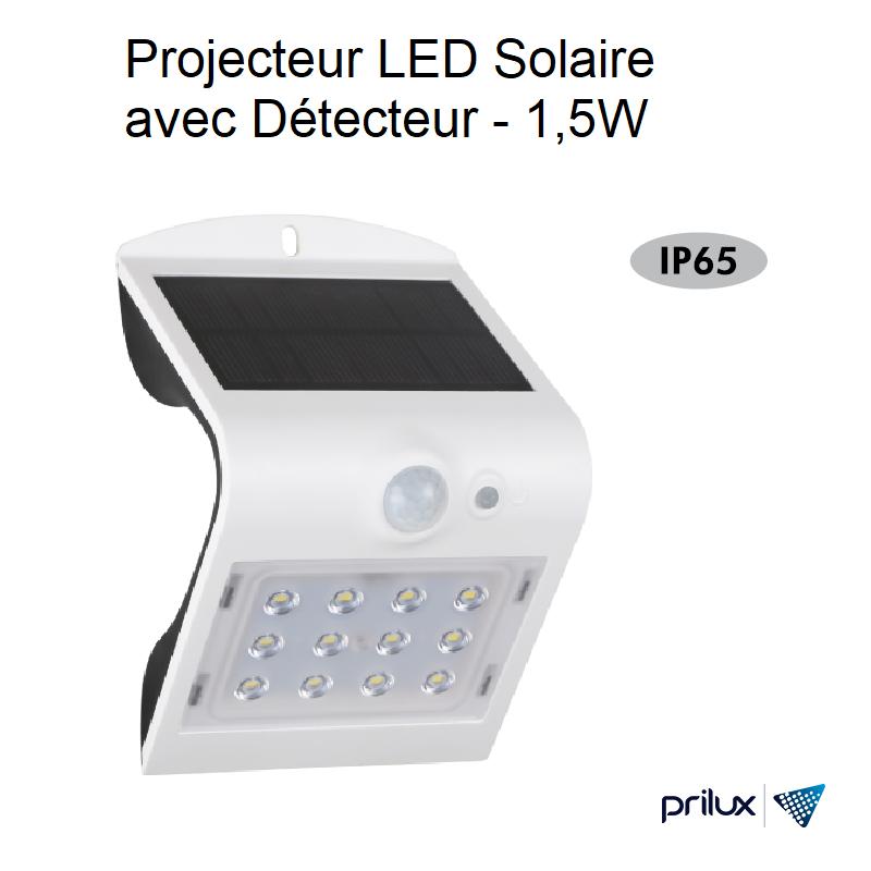 Projecteur LED Solaire avec Détecteur Blanc - 1,5W - 4000 kelvin