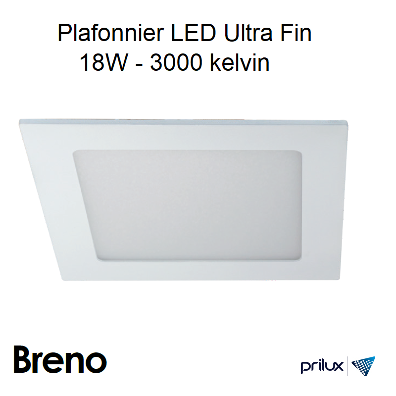 Downlight Ultra Fin Carré 18W 3000 kelvin - Breno SQ Alu