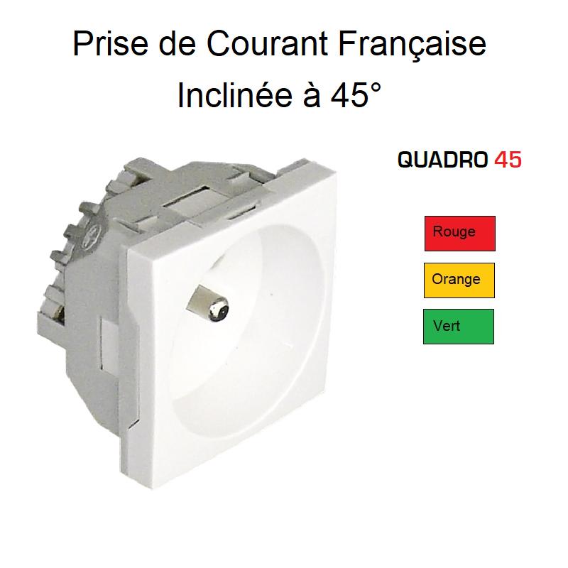 Prise de Courant 2P+T Semi-Assemblée Quadro45 - Inclinée 45° - Couleur