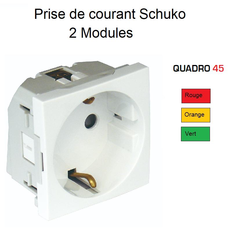 Prise de courant Schuko Droite à Bornes Automatique Quadro45 - Couleur
