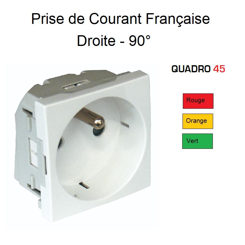 Prise de courant Française 2P+T Semi-Assemblée Quadro 45 - Couleur