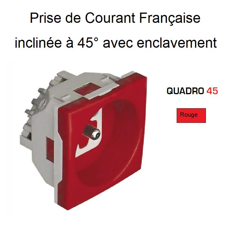 Prise de Courant Française inclinée à 45° avec Enclavement - 2 Modules Quadro 45