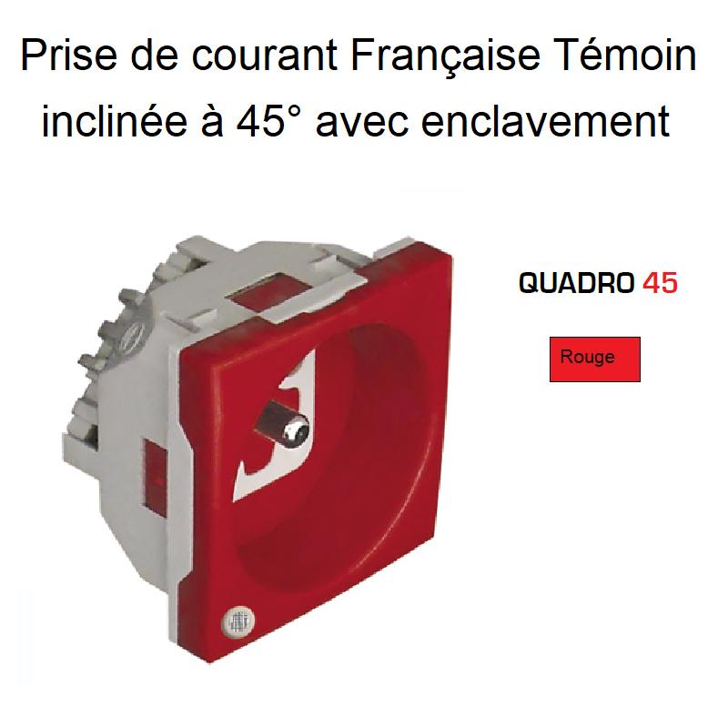 Prise de Courant Française Témoin inclinée à 45° avec Enclavement - 2 Modules Quadro 45