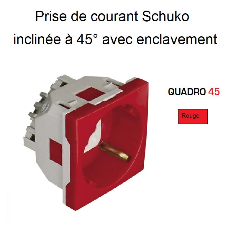 Prise de courant Schuko inclinée à 45° avec Enclavement - 2 Modules Quadro 45