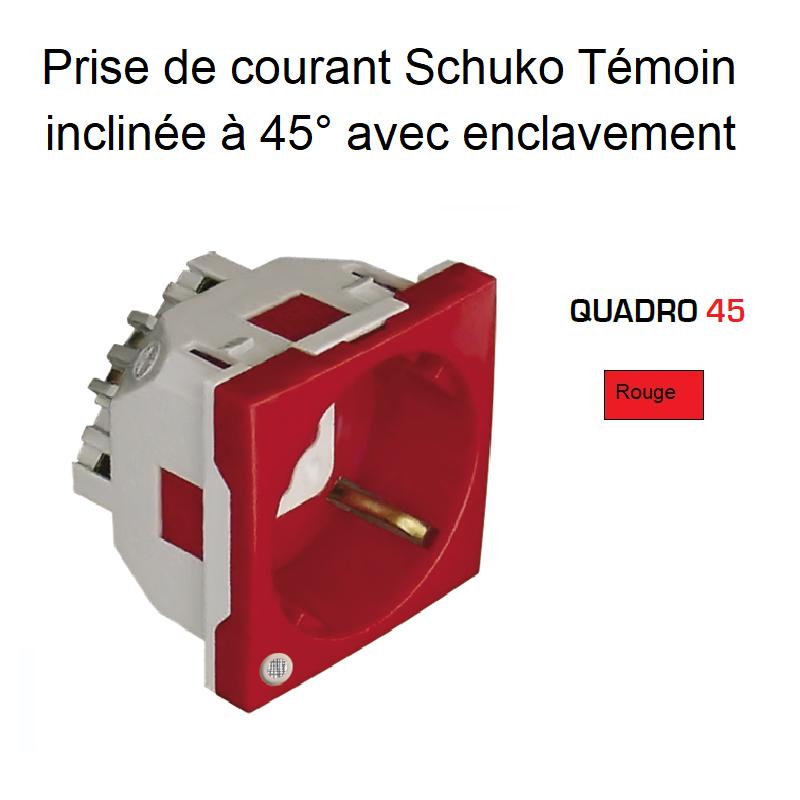 Prise de courant Schuko Témoin inclinée à 45° avec Enclavement - 2 Modules Quadro 45