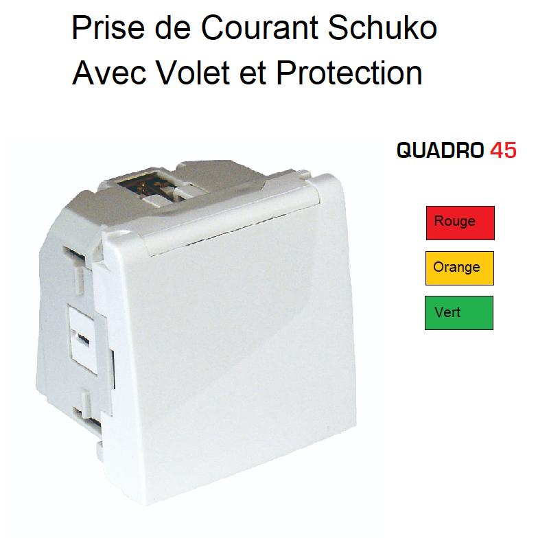 Prise de courant Schuko avec Volet et Protection - 2 Modules Quadro 45 Couleur