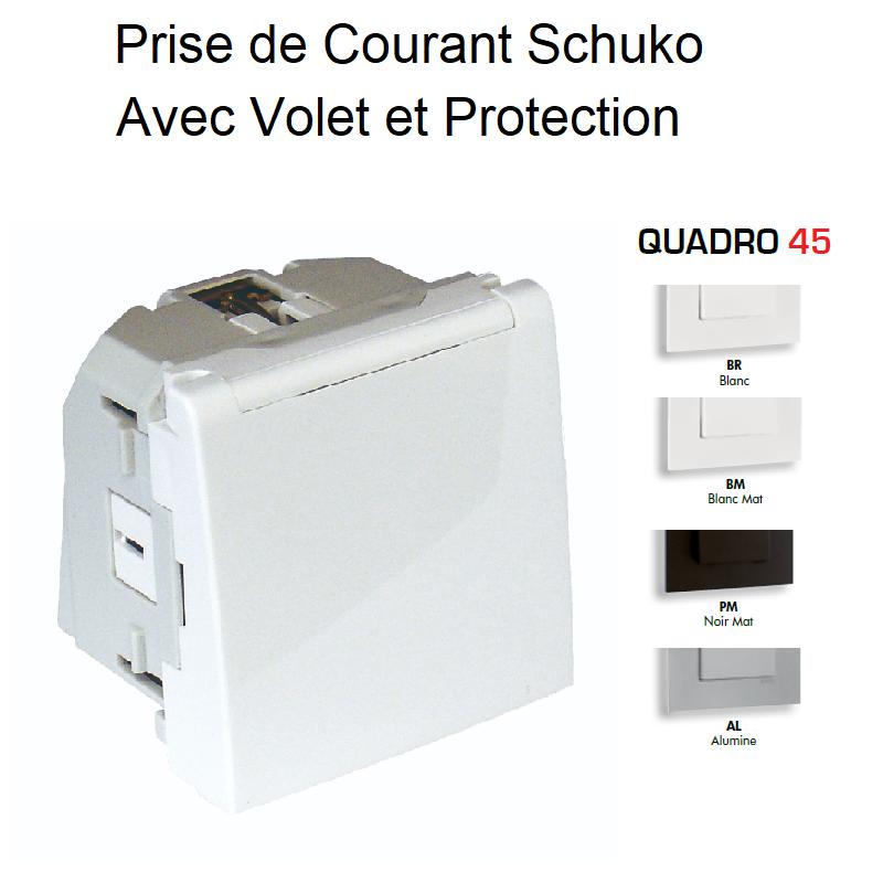 Prise de courant Schuko avec Volet et Protection - 2 Modules Quadro 45