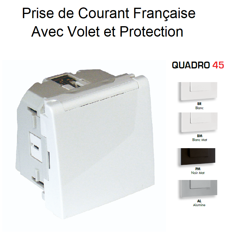 Prise de courant Française avec Volet et Protection - 2 Modues Quadro 45