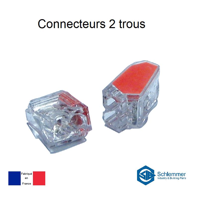 Bornes de connexion automatique Mini 2 trous - Boite de 150