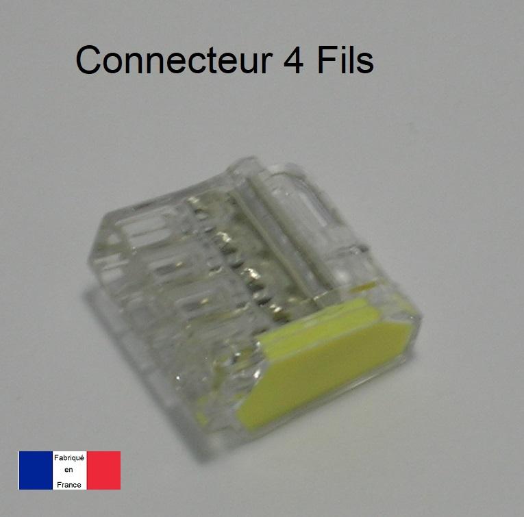 Bornes de connexion automatique Mini 4 trous - Boite de 100