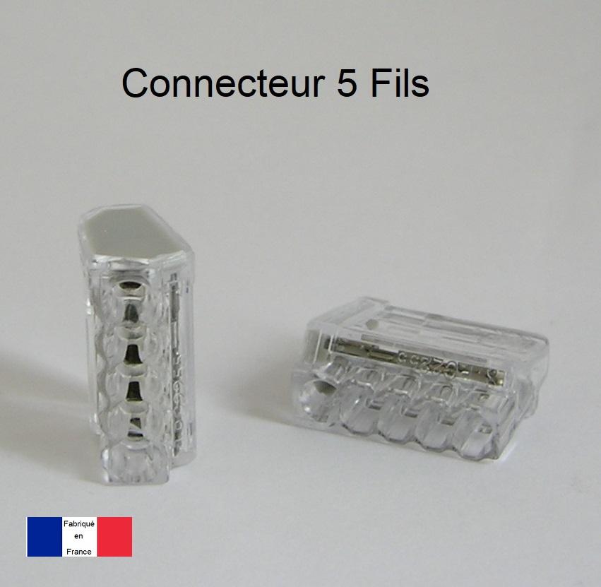 Bornes de connexion automatique Mini 5 trous - Boite de 80