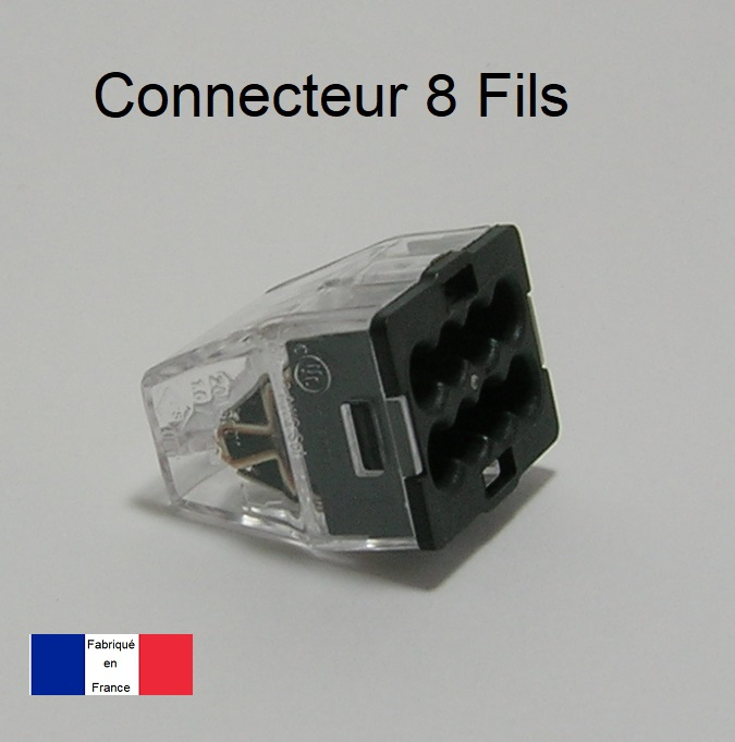 Bornes de connexion automatique Mini 8 trous - Boite de 60