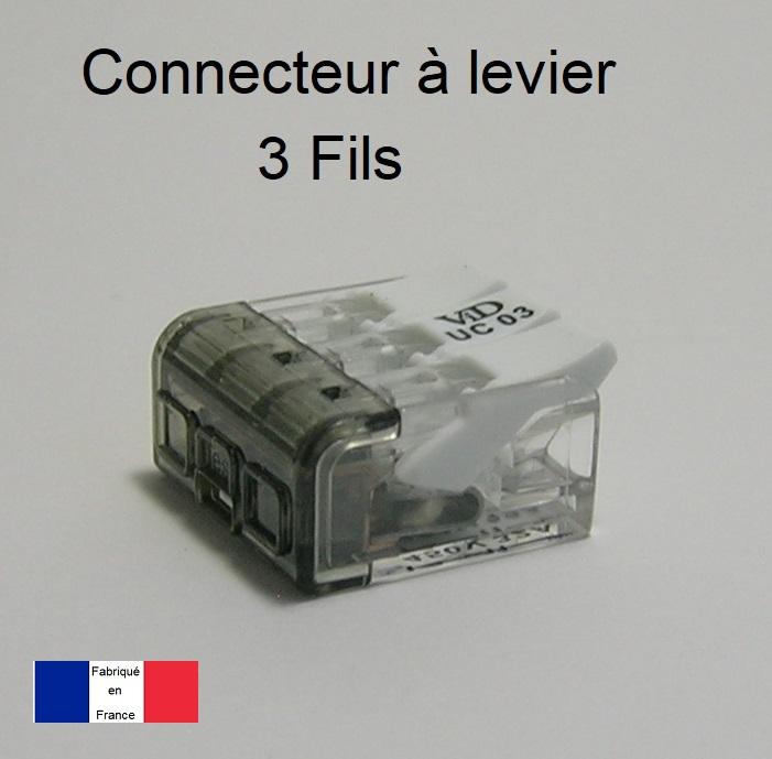 Connecteur à levier 3 Trous - Boite de 50