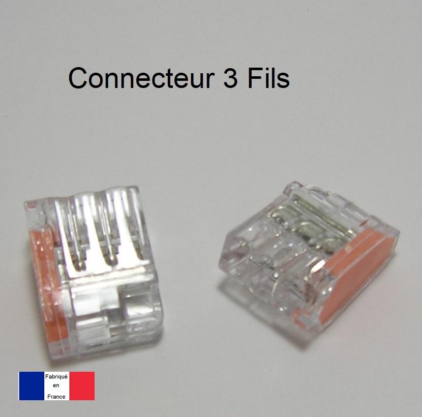 Bornes de connexion automatique Mini 3 Trous - Boite de 120