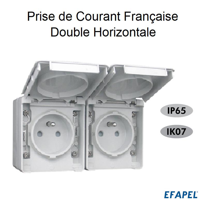 Prise Double de Courant Française Horizontale avec Protection IP65