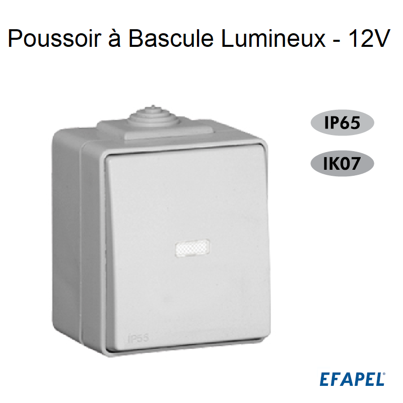 Poussoir à Bascule Lumineux 12V - IP65