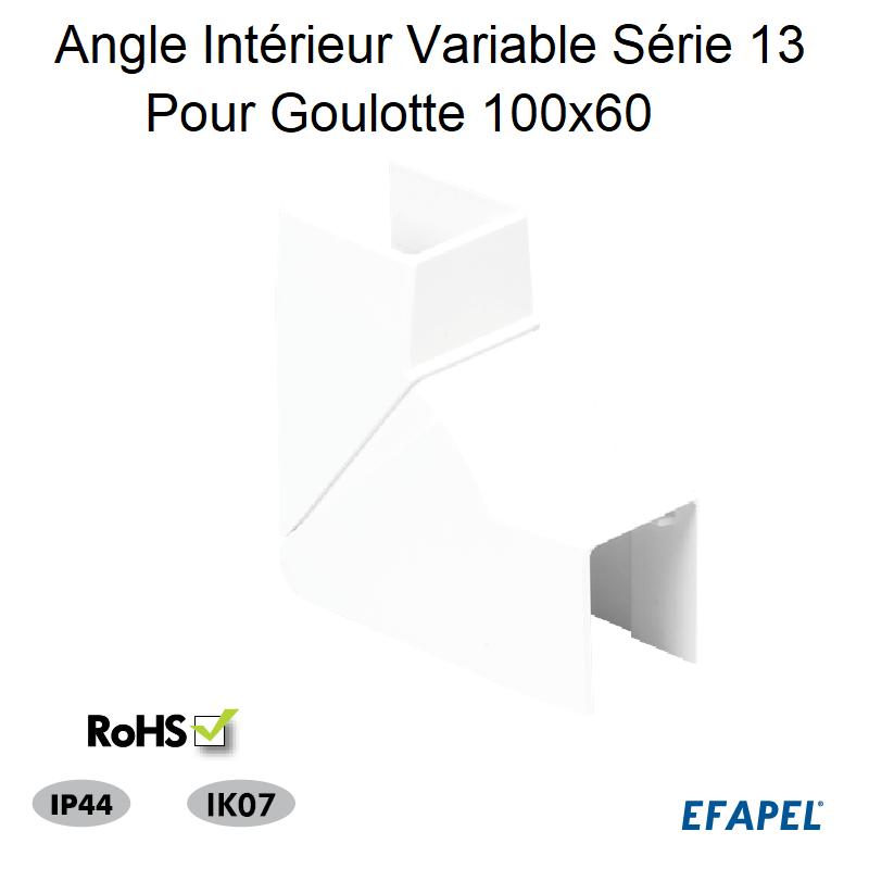 Angle Intérieur Variable pour Goulotte Série 13 - 100 x 60