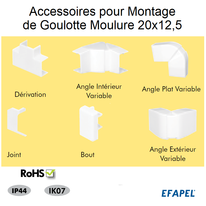 Accessoires pour Montage de goulottes Série 10 Moulures - 20x12,5