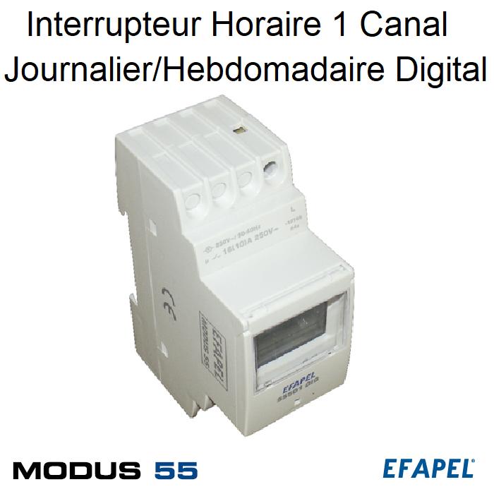 Interrupteur Horaire de 1 Canal Journalier/Hebdomadaire Digital